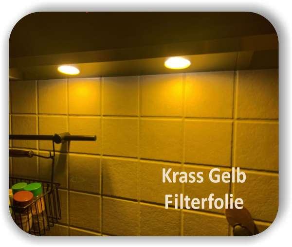Zuschnitt Krass Gelb - LED Filterfolie - Warmlicht - LED Tönungsfolie