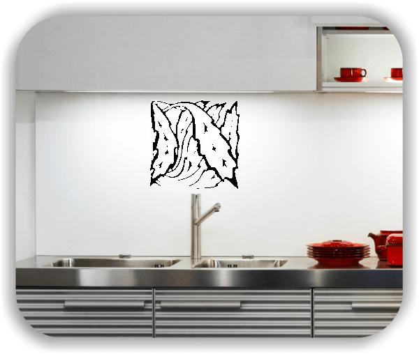 Wandtattoo - Quadratisch Florale Silhouetten - Motiv 17