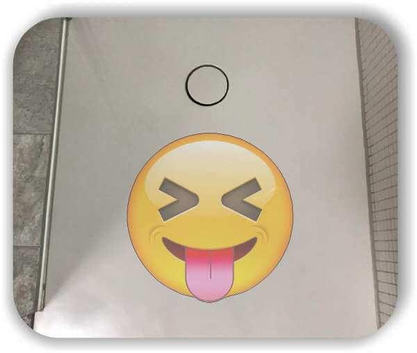 Anti-Rutsch Folie mit Digitaldruck - Strichgesicht - Zunge raus (lange Zunge)
