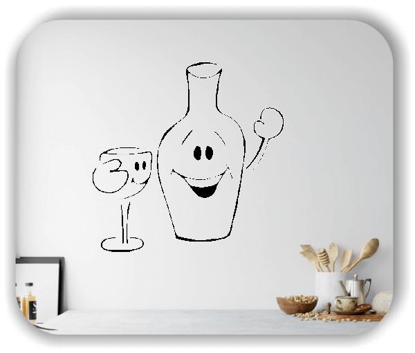 Wandtattoo - Winkende Flasche