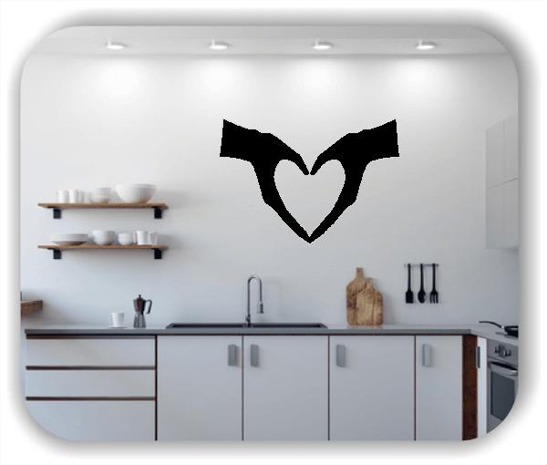 Wandtattoo - Silhouette Herz mit Händen
