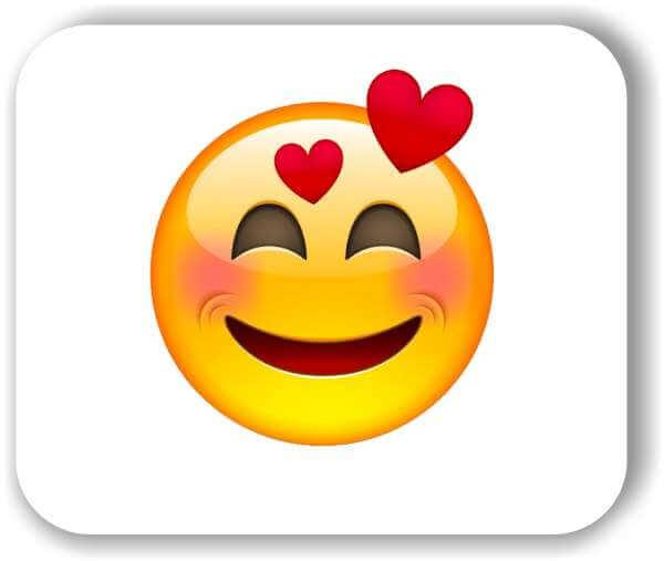 Strichgesicht - Lächelndes Gesicht mit 2 Herzen