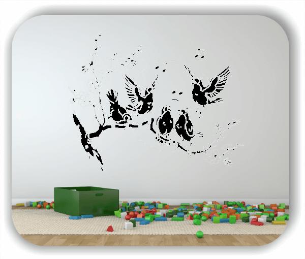❤ Wandtattoo - Musizierende Vogelschar