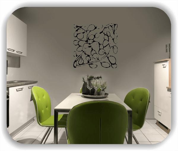 Wandtattoo - Quadratisch Florale Silhouetten - Motiv 08