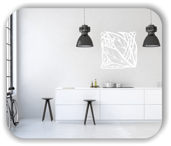 Wandtattoo - Quadratisch Florale Silhouetten - Motiv 02