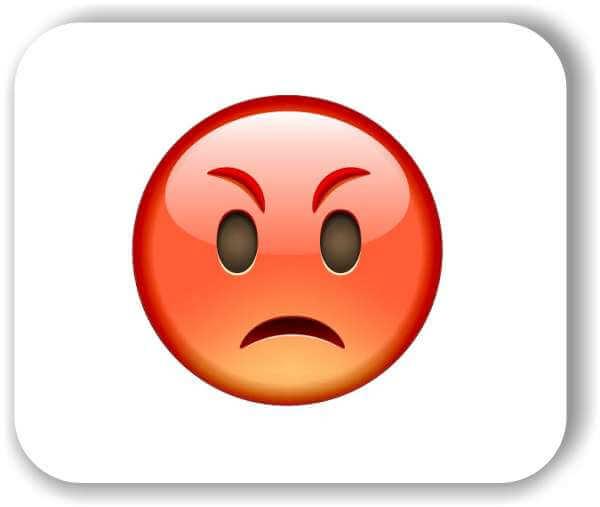 Strichgesicht - Rotes schmollendes Gesicht