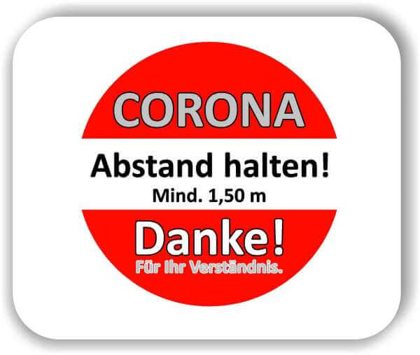 """10 Stück 50 cm ROT rund Corona Aufkleber Glas & Fenster """"Bitte Abstand halten"""""""