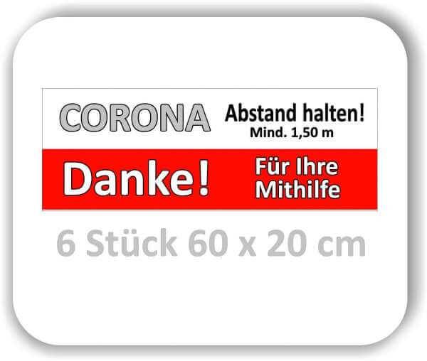 """6 Stück 60x20 cm Corona Aufkleber Fußboden """"Bitte Abstand halten"""""""