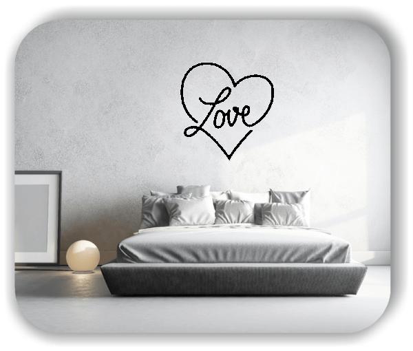 Wandtattoo - Herz mit Love