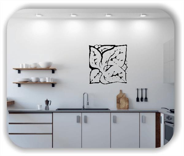 Wandtattoo - Quadratisch Florale Silhouetten - Motiv 11