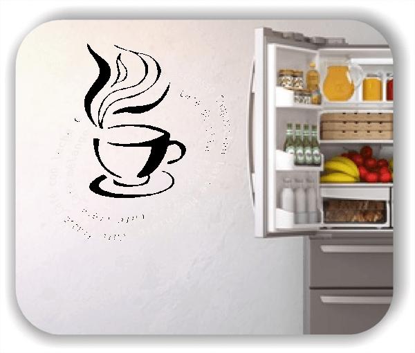 Wandtattoo - Kaffeesorten mit dampfender Tasse