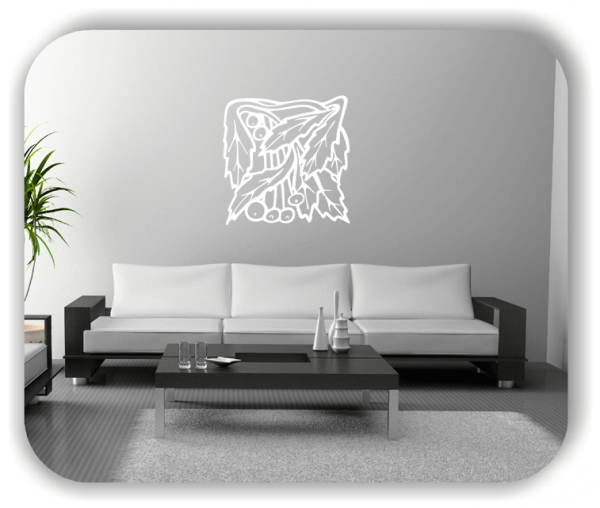 Wandtattoo - Quadratisch Florale Silhouetten - Motiv 36