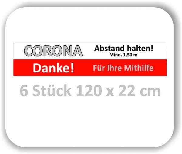 """6 Stück 120x22 cm Corona Aufkleber Fußboden """"Bitte Abstand halten"""""""