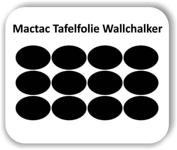 12 Stück 14 x 10 cm Tafelfolie Oval Elipse Wallchalker