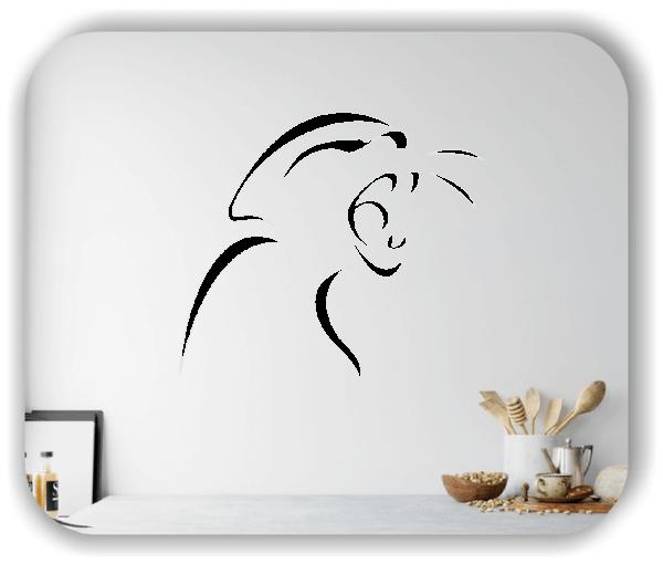 Wandtattoo - Tier Silhouette - ab 50x42 cm - Fauchende Katze