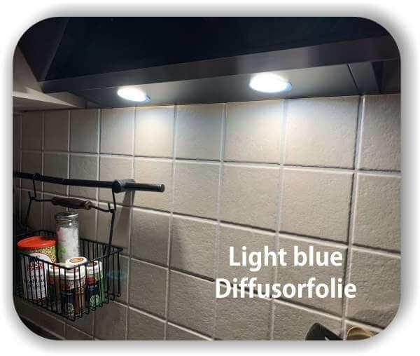 Zuschnitt Diffusorfolie Warmlicht Hell-Blau - LED Filterfolie