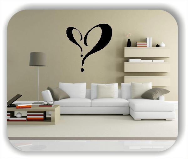 Wandtattoo - 2 Fragezeichen als Herz