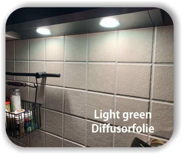 Zuschnitt LED Tönungsfolie Warmlicht Hellgrün - LED Filterfolie