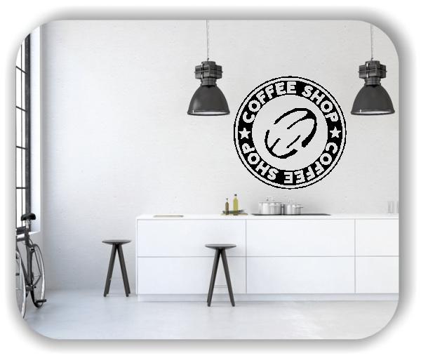 Wandtattoo - Coffee Shop mit Kaffeebohne